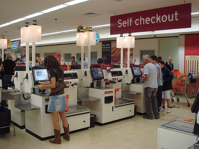 Self checkout using NCR Fastlane machines