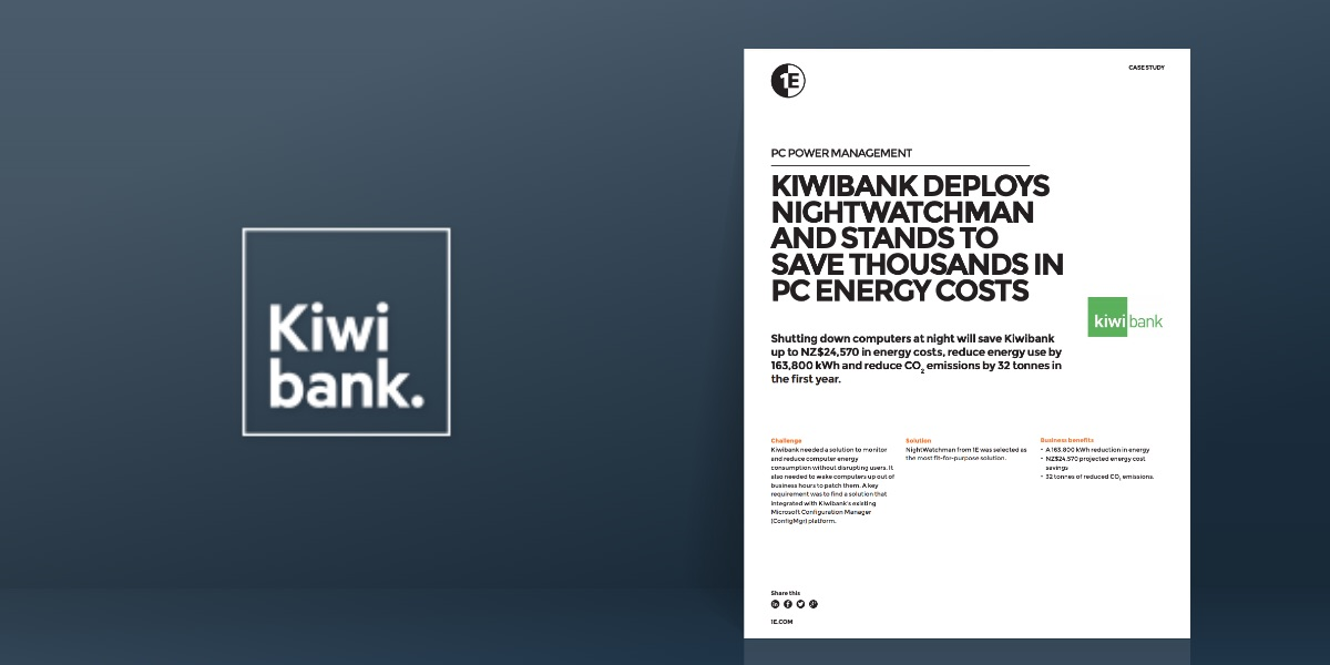 Kiwibank deploys NightWatchman and stands to save thousands in PC energy costs