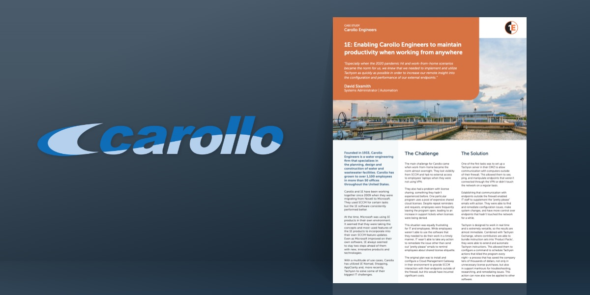 1E: Enabling Carollo Engineers to maintain productivity when working from anywhere